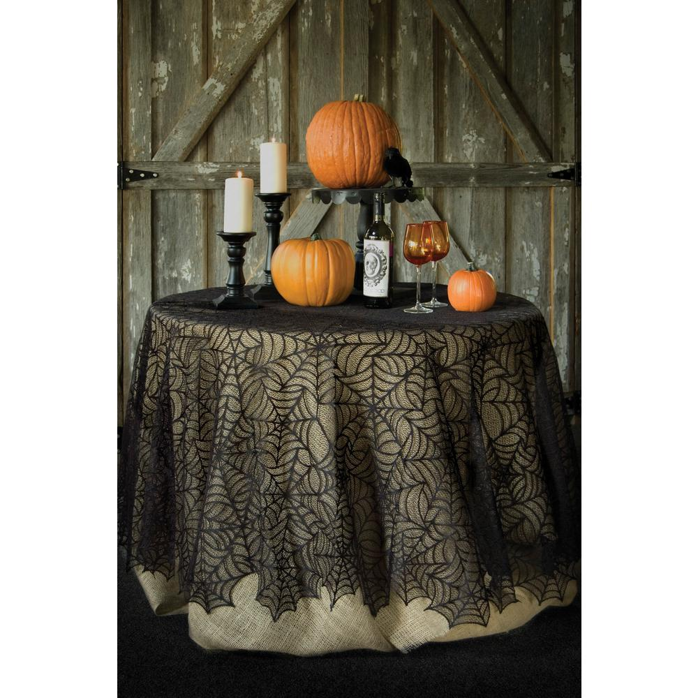 Heritage Lace Spider Web Round Black Polyester Tablecloth