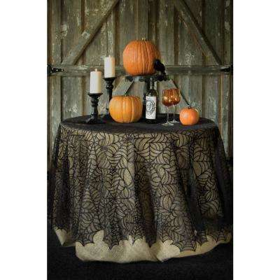Spider Web Round Black Polyester Tablecloth