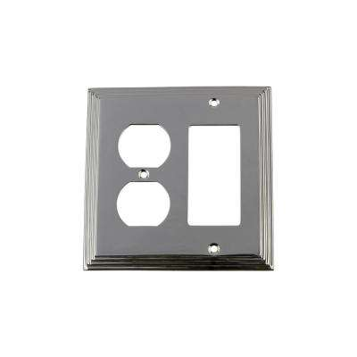Deco Switch Plate with Rocker and Outlet in Bright Chrome