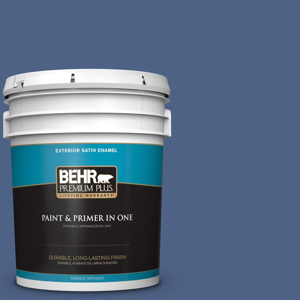 5 gal. #PPU15-04 Mosaic Blue Satin Enamel Exterior Paint