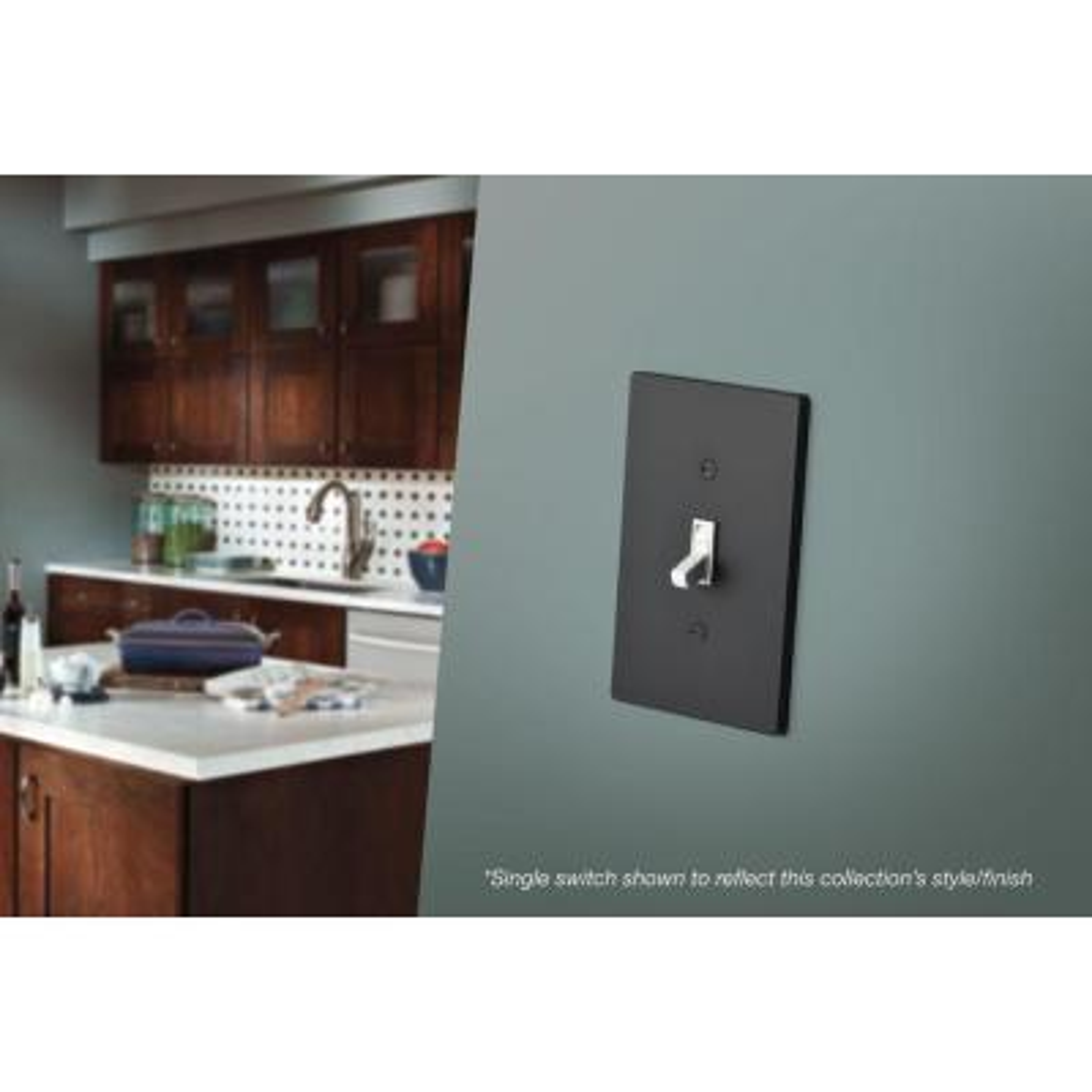 Black 2-Gang 1-Toggle/1-Decorator/Rocker Wall Plate (1-Pack)