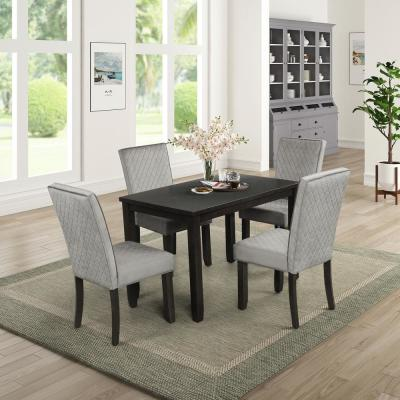 Gray Upholstered Dining Set (5-Piece)