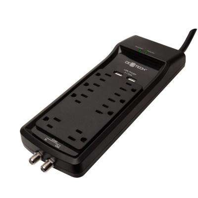 6 ft. 8-Outlet USB Coax Surge Protector