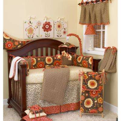 Peggy Sue 55 in. L Cotton Valance Brown Geometric
