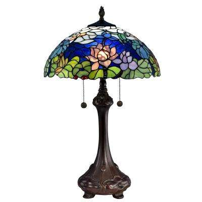 Tara Peony 25 in. Antique Bronze Table Lamp with Hand Rolled Art Glass Shade