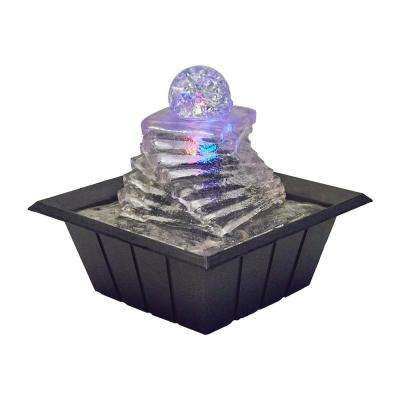 8 in. Spiral Ice Table Fountain with Multi Lights