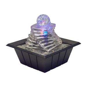 8 inch Spiral Ice Table Fountain with Multi Lights by