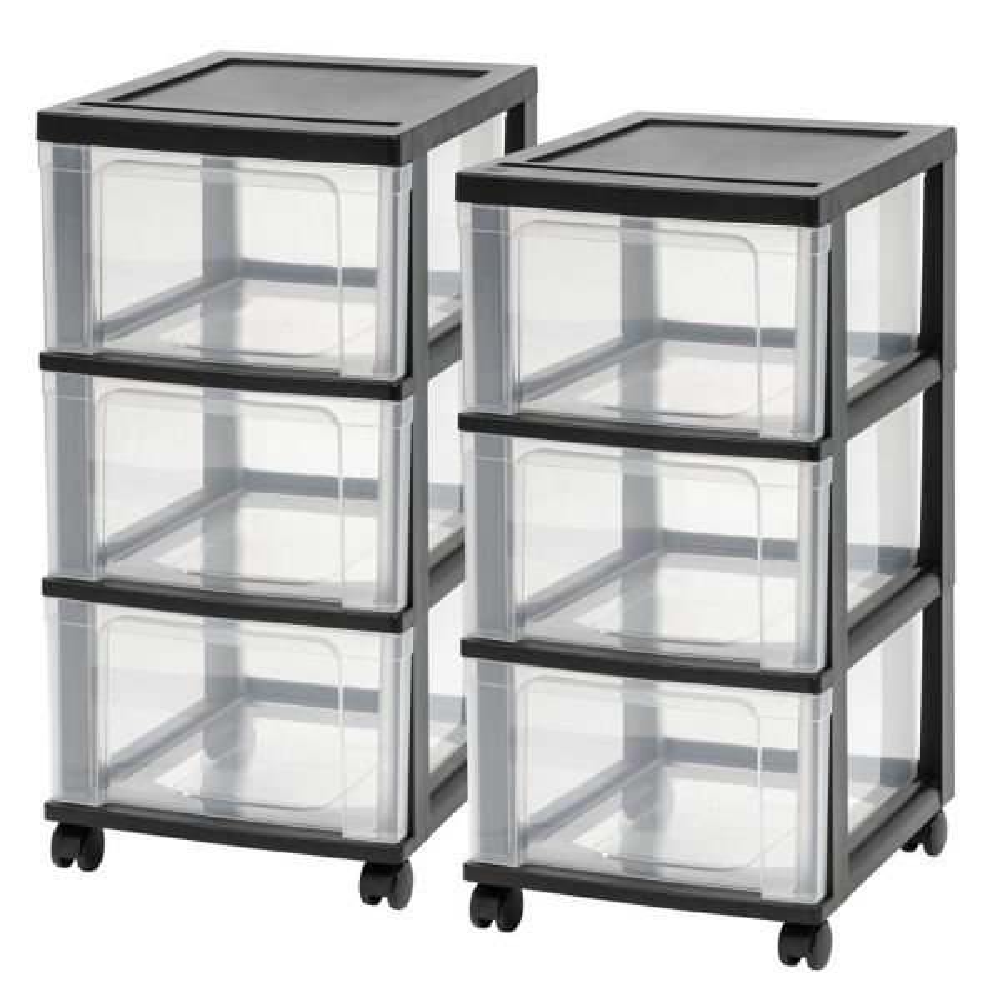 3-Drawer Plastic Wheeled Storage Cart in Black (2-Pack)
