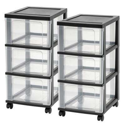 3-Drawer Plastic Wheeled Storage Cart in Black (2-Pack)