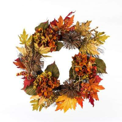 22 in. Artificial Harvest Wreath with Hydrangeas