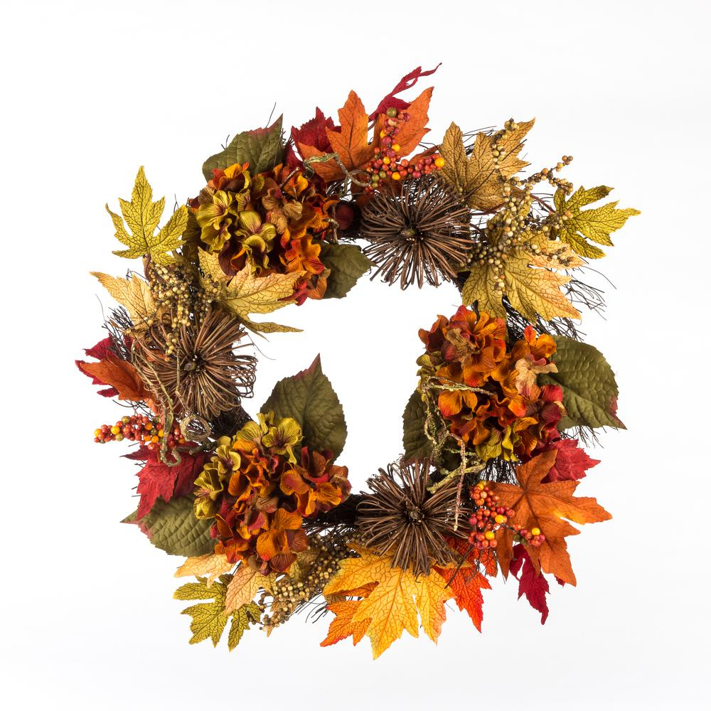 Home Accents Holiday 22 in. Artificial Harvest Wreath with Hydrangeas