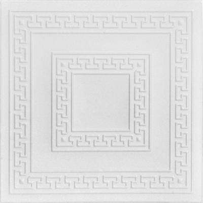 Greek Key 1.6 ft. x 1.6 ft. Foam Glue-up Ceiling Tile in Plain White (21.6 sq. ft. / case)