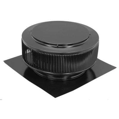 12 in. Black Powder Coated Aluminum Roof Vent No Moving Parts Wind Turbine