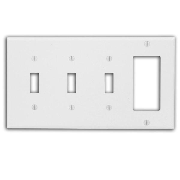 Leviton White 4 Gang 3 Toggle 1 Decorator Rocker Wall Plate 1 Pack 002 0p326 00w The Home Depot