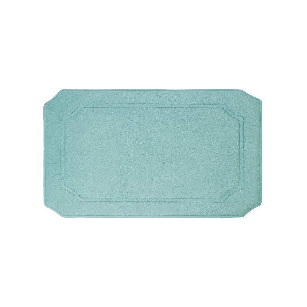 89c25d9c11b Walden Premium Extra Thick Micro Plush Aqua 17 in. x 24 in. Memory Foam  Bath Mat