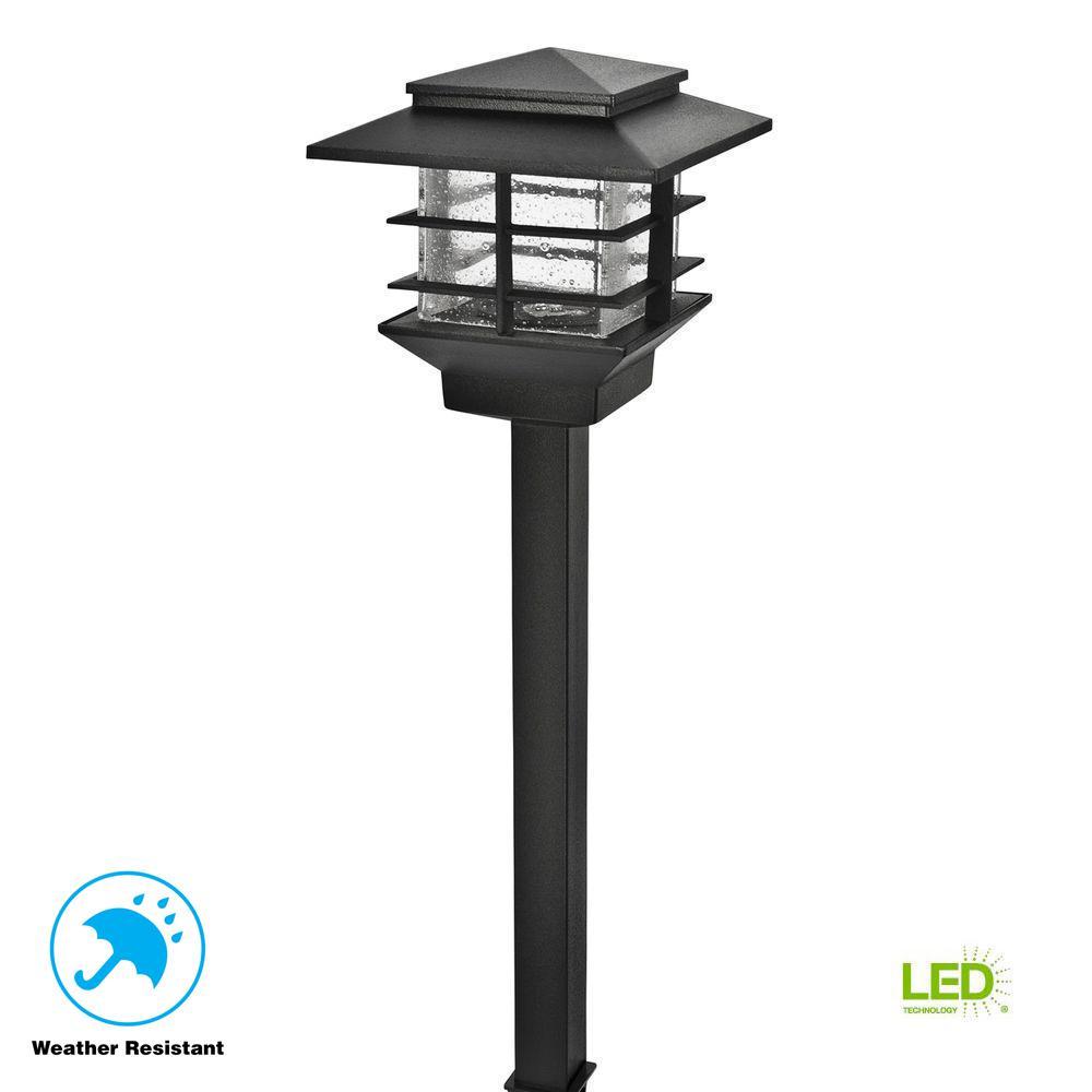 Low-Voltage 3-Watt Black Outdoor Integrated LED Cast Aluminum Landscape Path Light