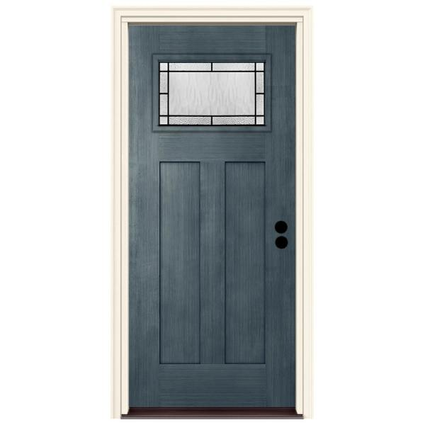 36 in. x 80 in. Left-Hand 1-Lite Craftsman Wendover Denim Stained Fiberglass Prehung Front Door with Brickmould