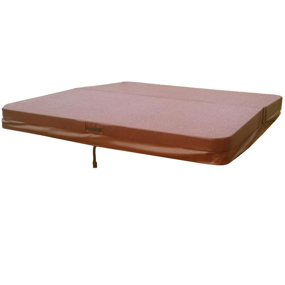 BeyondNice 84 in. x 84 in. Hot Tub Spa Cover for Cal Spas, 5 in. - 3 in. Thick, 8 in. Radius Corners in Brown
