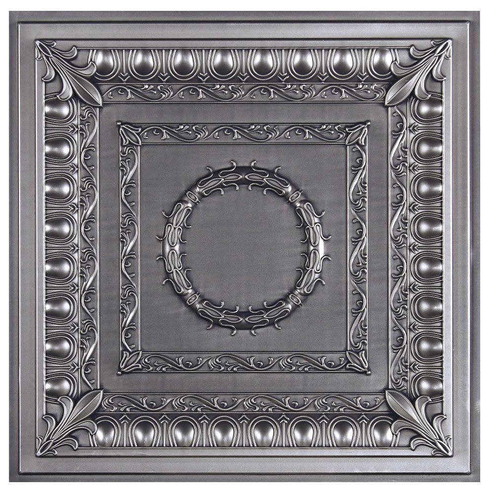uDecor Royal 2 ft. x 2 ft. Lay-in or Glue-up Ceiling Tile in Antique Nickel (40 sq. ft. / case)