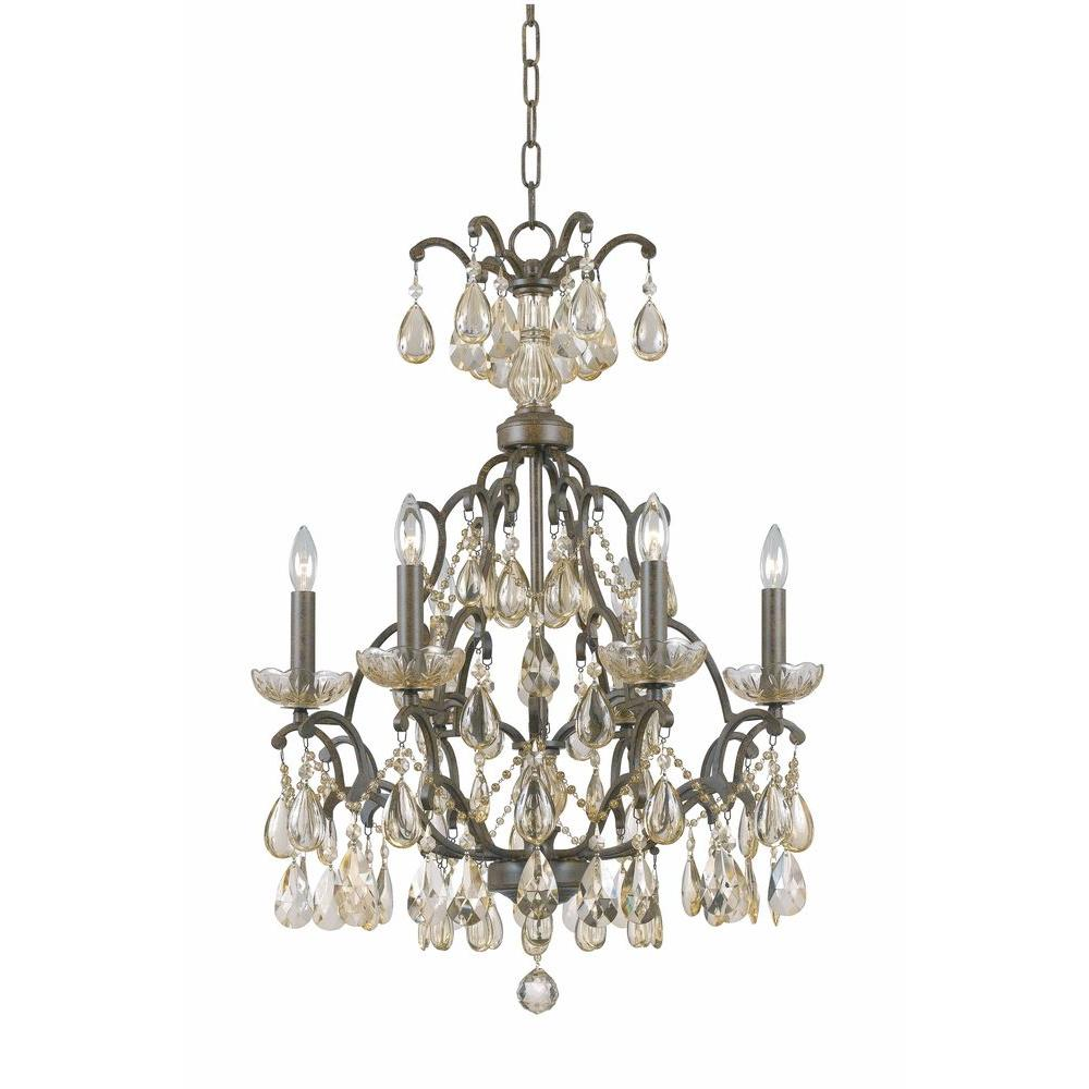 Illumine 6-Light chandelier antiqued bronze finish golden crystal