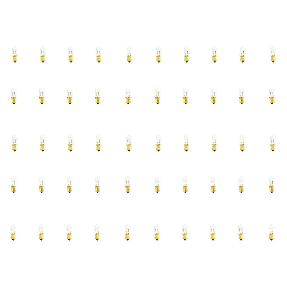 Bulbrite 15-Watt T4 Clear Dimmable Warm White Light Incandescent Light Bulb (50-Pack) Bulbrite's series of specialty incandescents offer a variety of lighting solutions for appliance, amusement and other specialty applications such as appliances. The low wattage of this small form factor bulb is ideal for use in sewing machines and other similar small spaces. Low wattage is ideal for illuminating small spaces.