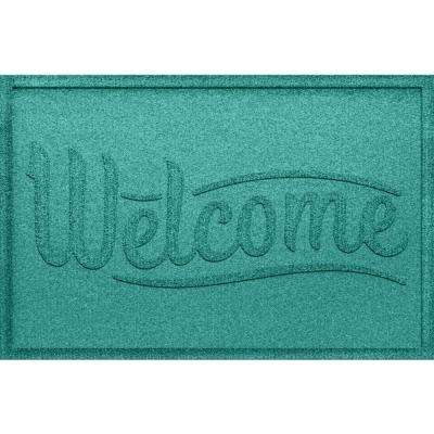 Simple Welcome Aquamarine 24 in. x 36 in. Polypropylene Door Mat