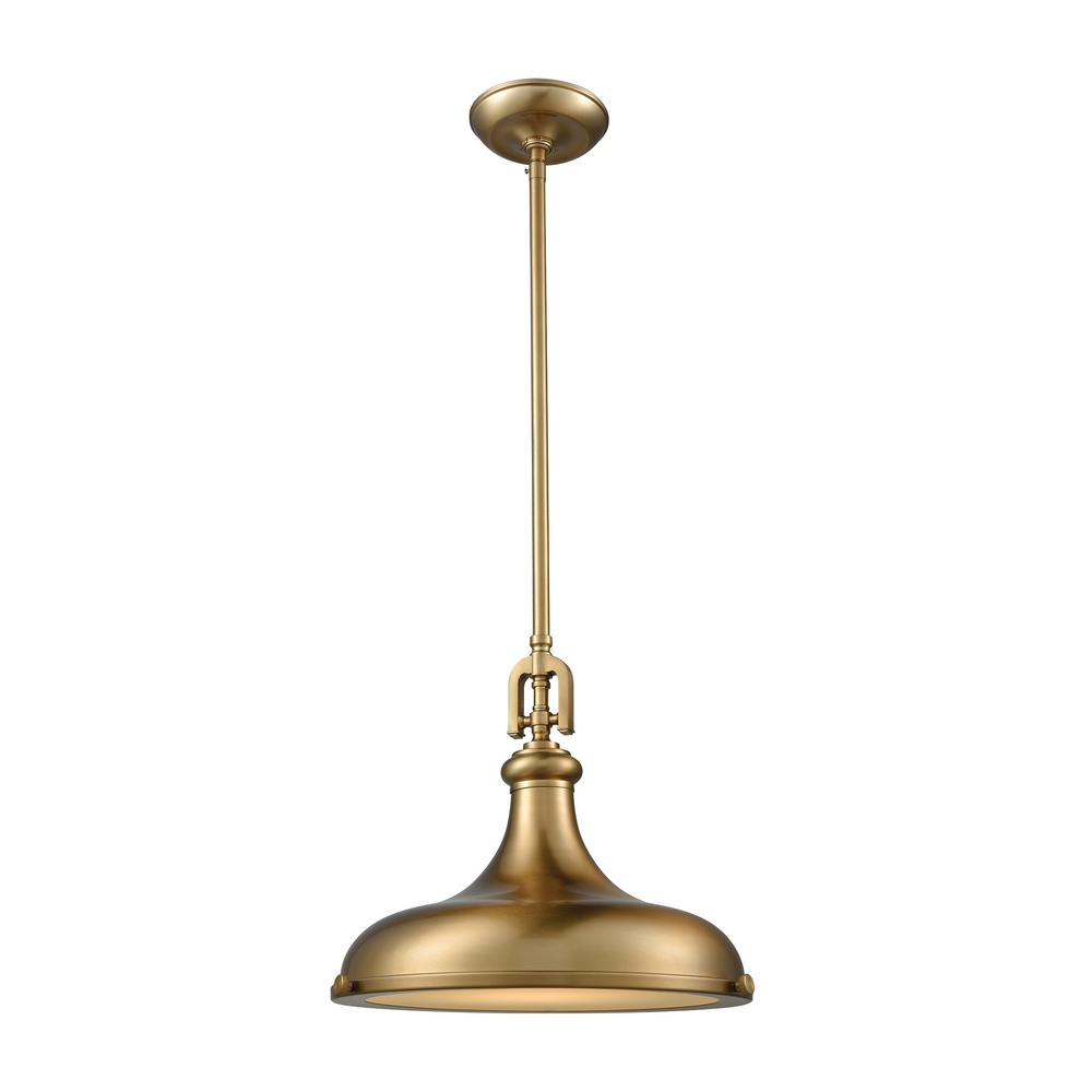 Titan Lighting Rutherford 1-Light Satin Brass With Frosted