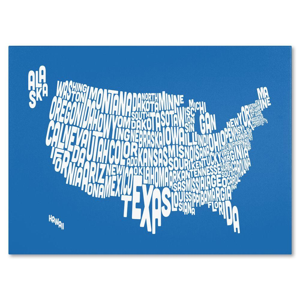 null 22 in. x 32 in. USA States Text Map - Summer Canvas Art