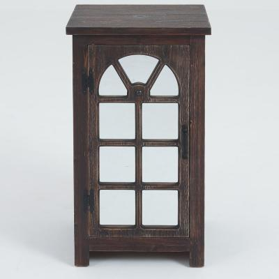 Natural Mirror Door Console Cabinet