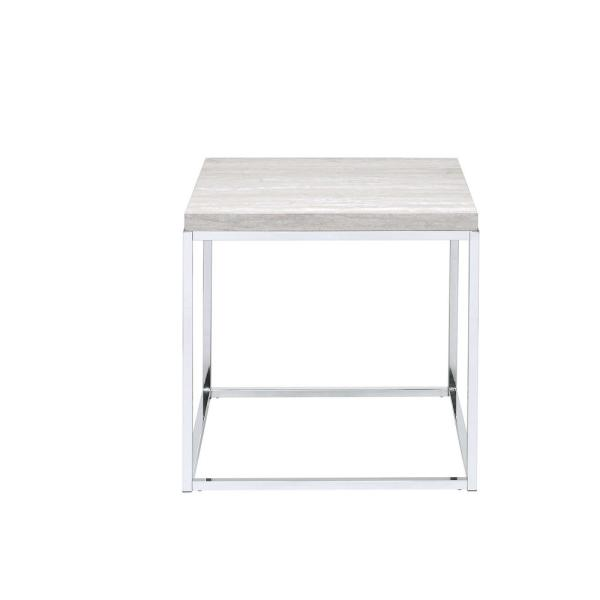 Acme Furniture Snyder Whitewashed And Chrome End Table 84627