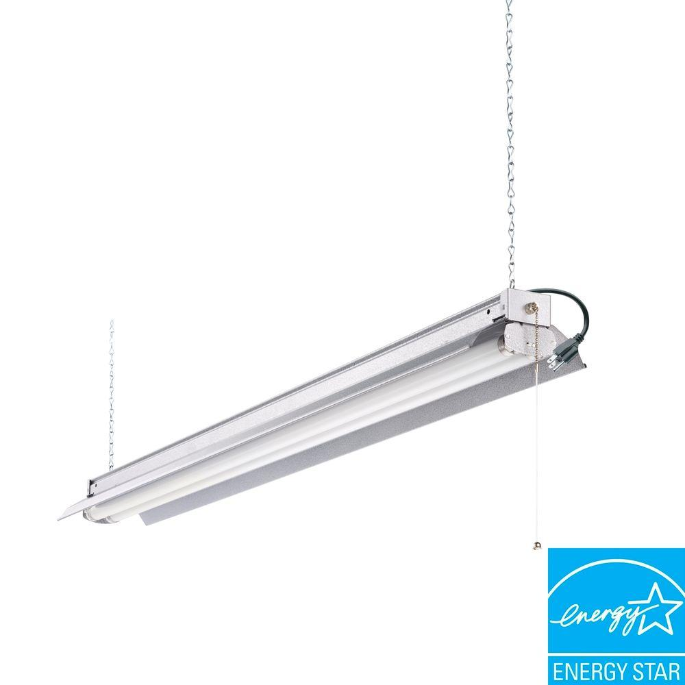 Stainless steel commercial lighting lighting the home depot 2 light grey t8 strip fluorescent shop light arubaitofo Choice Image