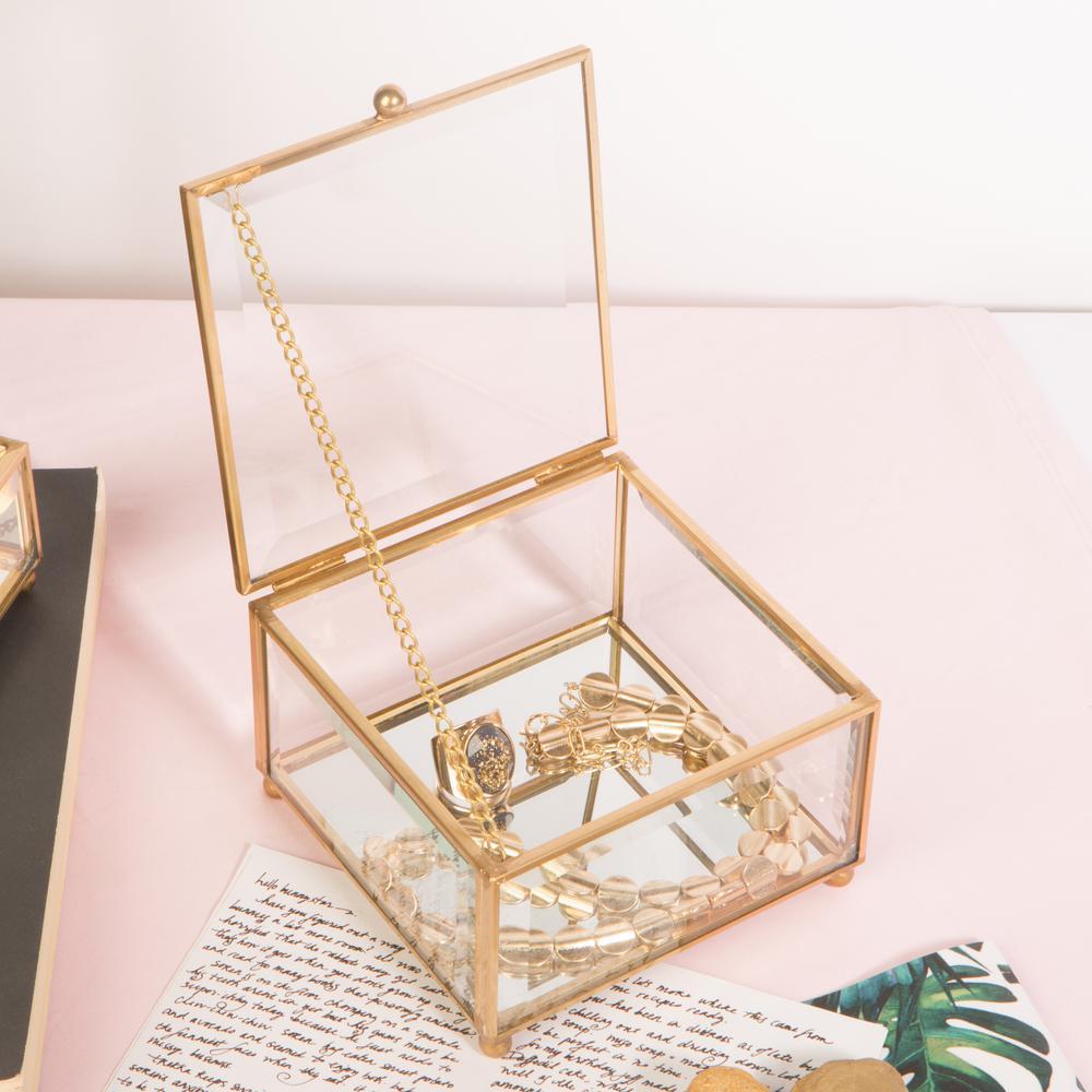 Vintage Mirrored in Gold Bottom Keepsake Box