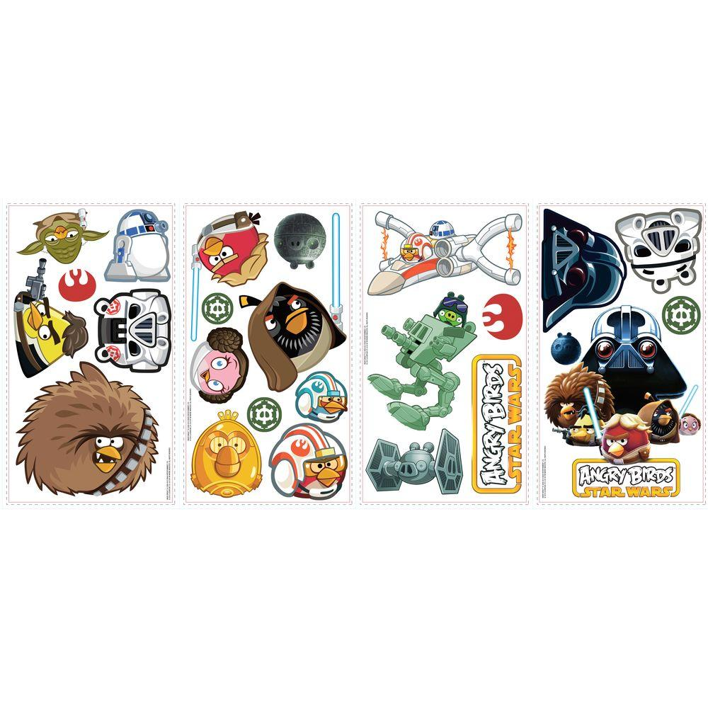null 10 in. x 18 in. Angry Birds Star Wars 24-Piece Peel and Stick Wall Decals-DISCONTINUED