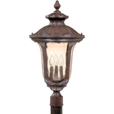 3-Light Outdoor Fruitwood Large Post Lantern with Amber Water Glass