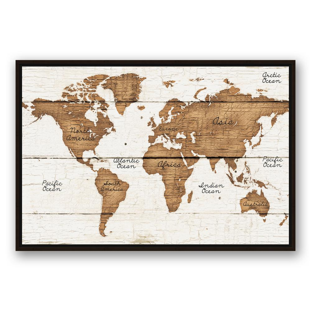 Designs Direct 24 In X 36 In Distressed Wood World Map Printed