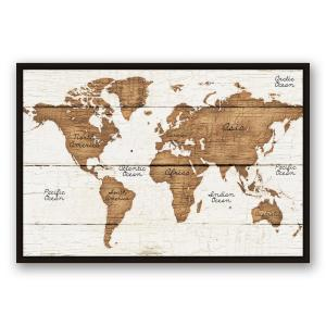 Designer stencils large world map wall stencil 3749a 10mil the distressed wood world map printed framed canvas wall art gumiabroncs Images