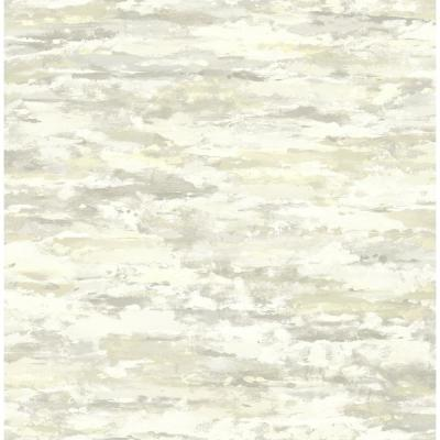 Brushstroke Metallic Silver, Champagne, and Ivory Watercolor Wallpaper