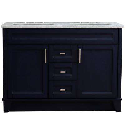 49 in. W x 22 in. D Double Bath Vanity in Blue with Marble Vanity Top in White Carrara with White Rectangle Basins