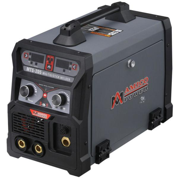 205 Amp MIG Wire Feed/Flux Core/TIG Torch/Stick Arc Welder, Weld Aluminum with 2T/4T 110-Volt/230-Volt Welding