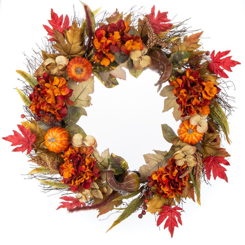 30 in. Unlit Artificial Harvest Hydrangea, Pumpkin and Maple Leaves Wreath