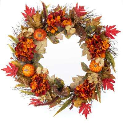 30 in. Unlit Artificial Harvest Hydrangea, Pumpkin and Maple Leaves Wreath