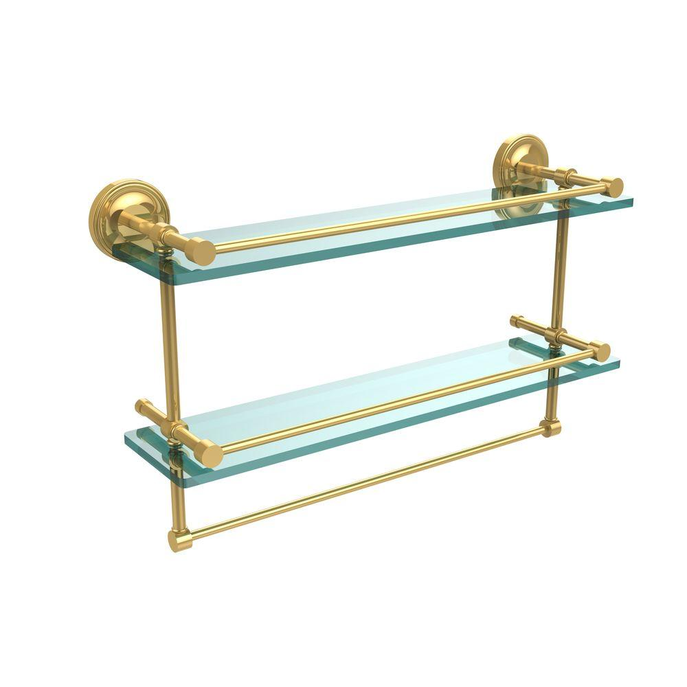 Allied Brass 22 in. L  x 12 in. H  x 5 in. W 2-Tier Clear Glass Bathroom Shelf with Towel Bar in Polished Brass