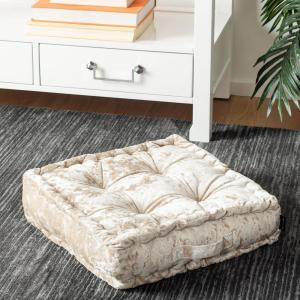 Peony 18 in. x 18 in. Polyfill White Square Floor Pillow