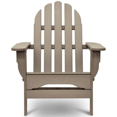 Icon Weathered Wood Plastic Folding Adirondack Chair