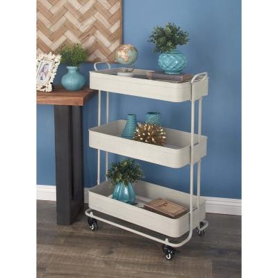 3-Tiered Matte White Iron Metal Wheeled Cart