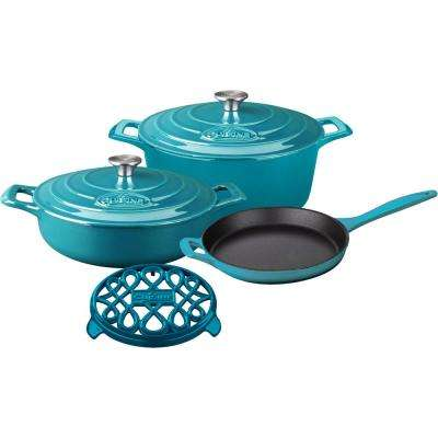 PRO 6-Piece Enameled Cast Iron Cookware Set with Saute, Skillet and Round Casserole with Trivet in High Gloss Teal