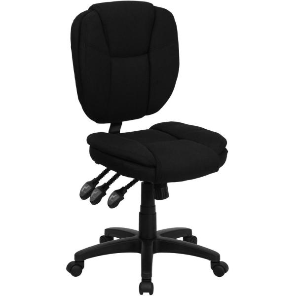 Flash Furniture Mid-Back Black Fabric Multi-Functional Ergonomic Swivel Task