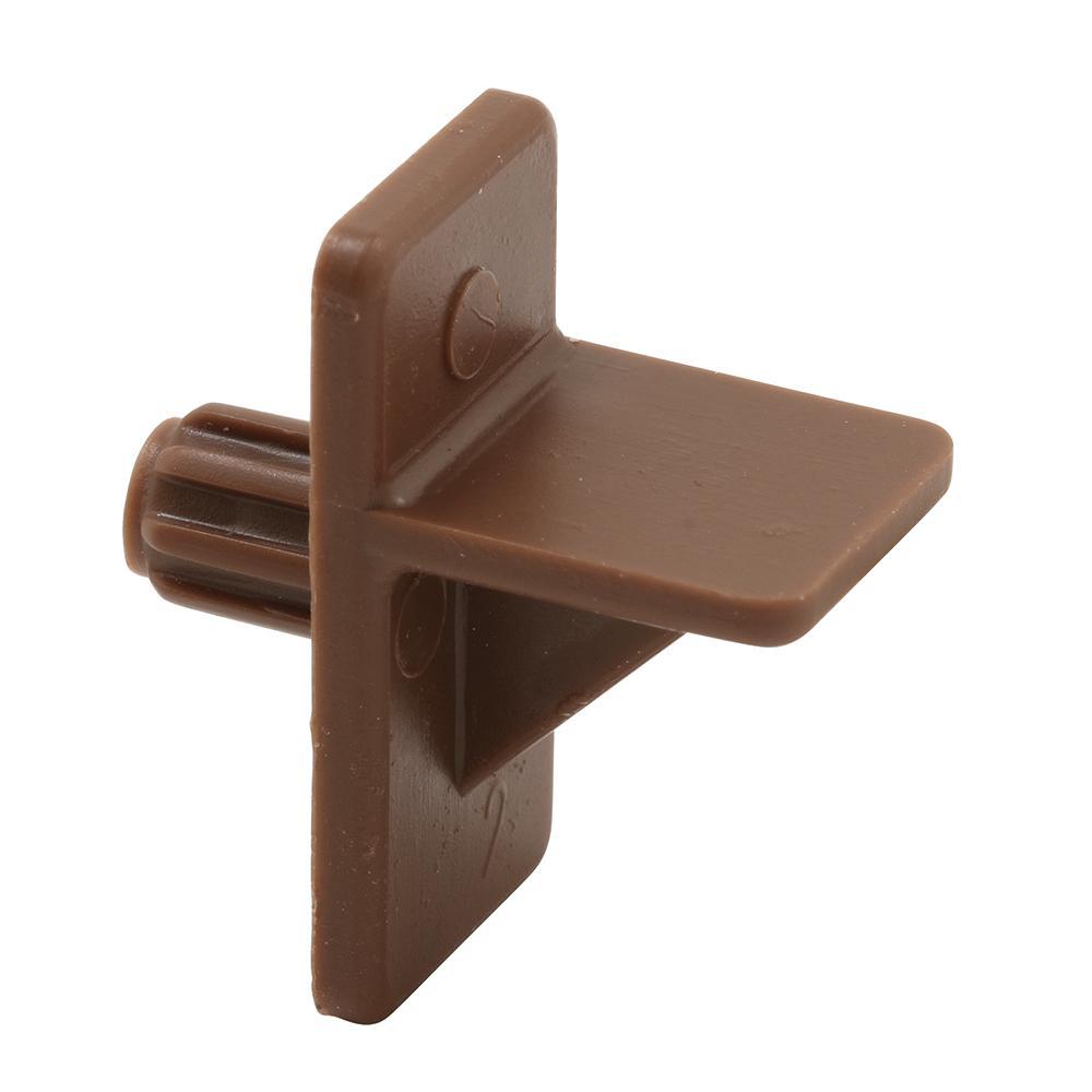 5 mm., Brown Plastic, 1/2 in. Self-Locking Shelf Support Peg (4-pack)