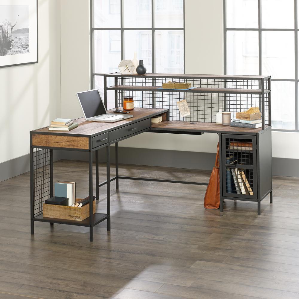 Boulevard Cafe Vintage Oak and Black L-Shaped Desk