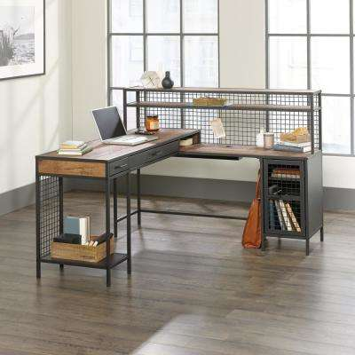 Boulevard Cafe Vintage Oak and Black L-Shaped Desk